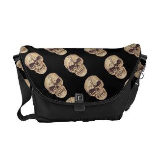 Ominous goth skull messenger bags