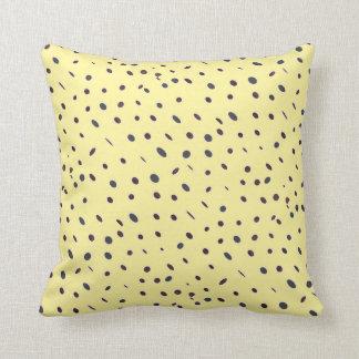Omni dots elegant pale yellow black pattern DOTS08 Throw Pillow