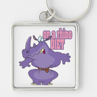 on a rhino diet dieting humor cartoon Silver-Colored square key ring