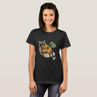 On a Roll Raccoon Pumpkin Autumn T-Shirt