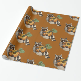 On a Roll Raccoon Pumpkin Autumn Wrapping Paper