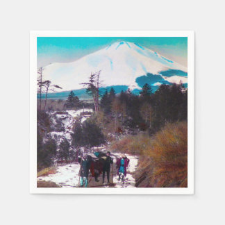 On a Winter Road Beneath Mount Fuji Vintage Japan Paper Serviettes