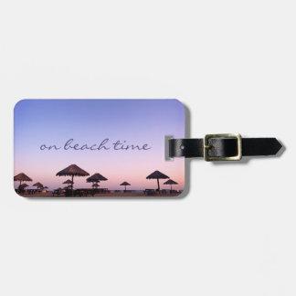 """On Beach Time"" California Palapas Sunset Photo Luggage Tag"