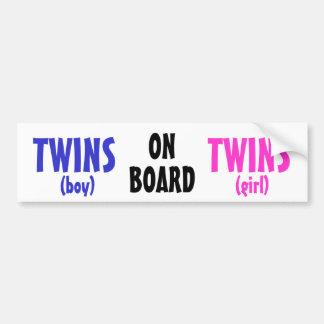On Board - Boy/Girl Twins Bumper Sticker