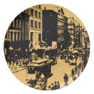 On Broadway 1897, vintage New York City Plate