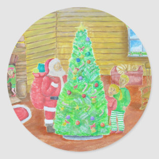 on christmas eve classic round sticker