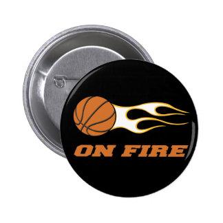 On Fire Basketball Pinback Buttons