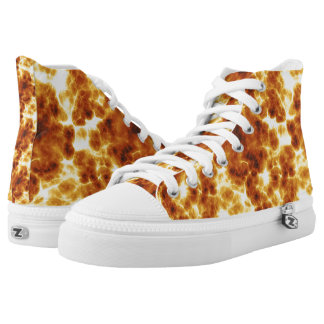"""On Fire"" Hot Fiery Pattern High Top Shoes Printed Shoes"