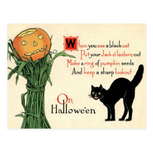 Fabric Block Halloween Vintage Postcard Image Black Cat Frightened Boy Candle