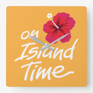 On Island Time Clock with Hibiscus graphic