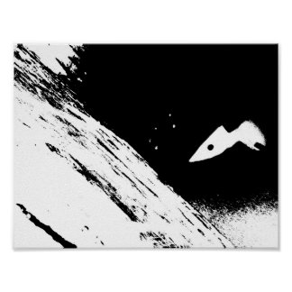 On My Way -a black and white space landscape. Poster