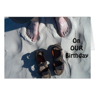 """""""ON OUR"""" BIRTHDAY=RELAX AND """"ENJOY!"""" BEACH STYLE CARD"""
