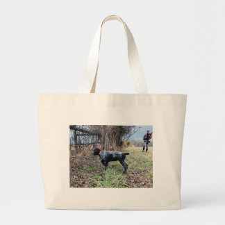 On point puppy large tote bag