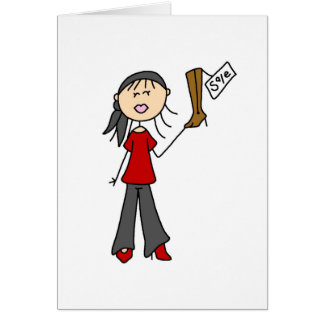 On Sale Shopping Stick Figure Card