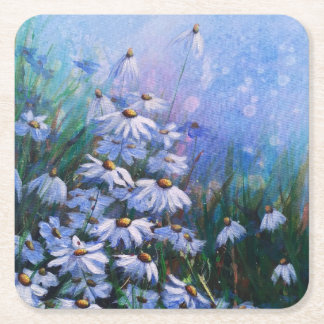 On the bright side, Daisy field painting Square Paper Coaster