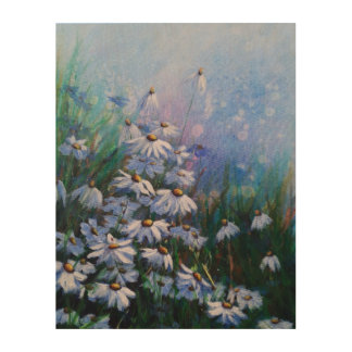 On the bright side, Daisy field painting Wood Wall Art