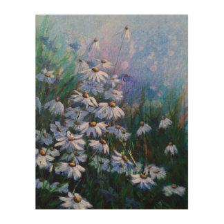 On The Bright Side, Floral White Daisy Painting Wood Wall Decor