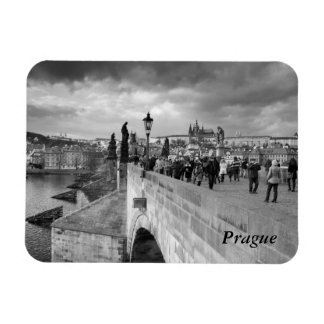 on the Charles Bridge under a stormy sky in Prague Magnet