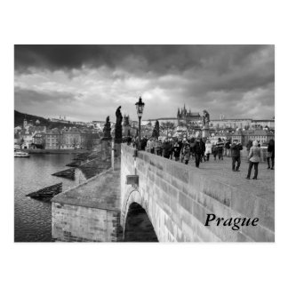 on the Charles Bridge under a stormy sky in Prague Postcard