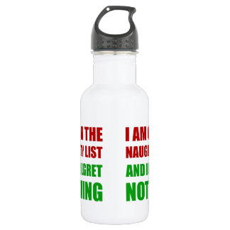 On The Christmas Santa Naughty List Regret Nothing 532 Ml Water Bottle