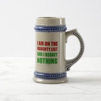 On The Christmas Santa Naughty List Regret Nothing Beer Stein