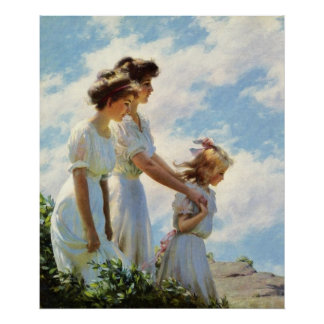 On the Cliff by Charles Courtney Curran Poster
