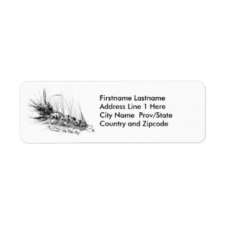 On  the Fly - Fisherman's Fishing Fly Return Address Label