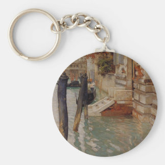 On the Grand Canal, Venice by Frits Thaulow Basic Round Button Key Ring