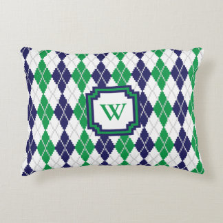 On the Green Argyle Accent Pillow