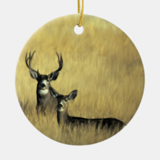 On the Lookout Mule Deer Ceramic Ornament
