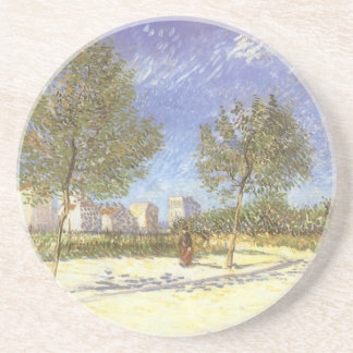 On the Outskirts of Paris by Vincent van Gogh Sandstone Coaster