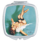 On the Phone - Vintage Pin Up Girl Compact Mirror