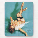 On the Phone - Vintage Pin Up Girl Mouse Pad