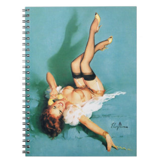 On the Phone - Vintage Pin Up Girl Spiral Notebook