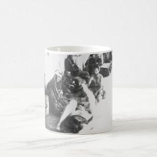 On the porch of an emergency hospital_War Image Coffee Mug