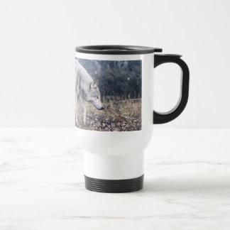 On the Prowl Timber Wolf Travel Mug Mugs