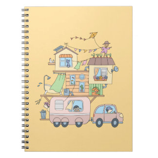 On the Road Family Camping Trailer on Yellow Spiral Notebook