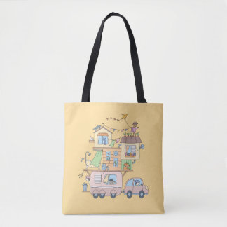 On the Road Family Camping Trailer on Yellow Tote Bag