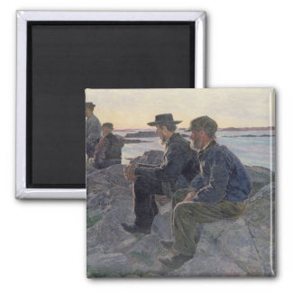 On the Rocks at Fiskebackskil, 1905-6 Square Magnet
