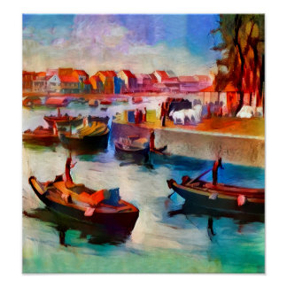 On the Singapore River - Art On Canvas Print