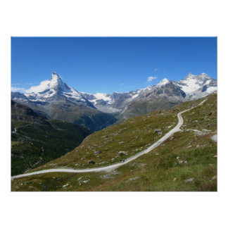 On the trail, Matterhorn View, Swiss Alps Poster