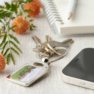 On the Turf Silver-Colored Rectangle Key Ring