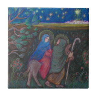 """""""On the Way"""" to Bethleham Small Square Tile"""