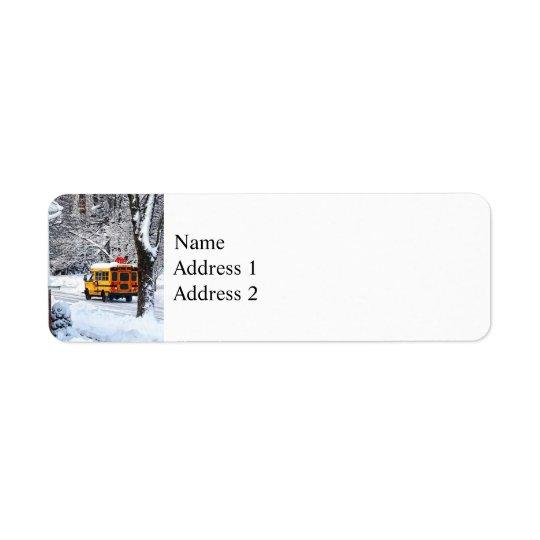 On the Way to School in Winter Return Address Label