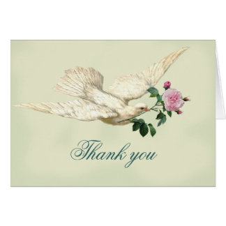 On the Wings of A Dove, pale sage green, thank you Greeting Card