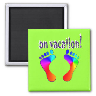 on vacation square magnet