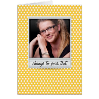 on white & sunny yellow polkadot card