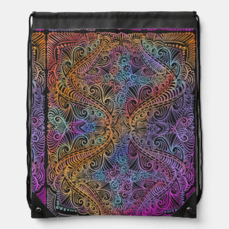 On winding rainbow of time, new age pattern. drawstring bag