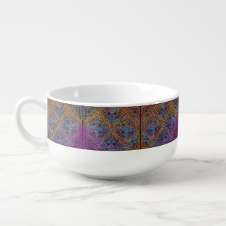 On winding rainbow of time, new age pattern. soup mug