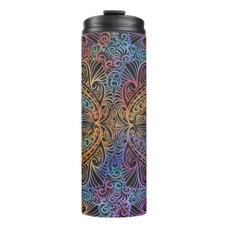 On winding rainbow of time, new age pattern. thermal tumbler